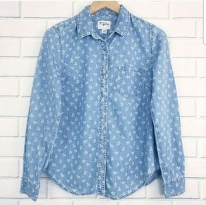 Holding Horses Anthro Floral Chambray Shirt